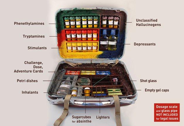 No sentido horário: Alucinógenos não classificados, calmantes, copo de vidro, cápsulas de gel vazias, isqueiros, cubos de açucar para absinto, inalantes, placa de petri, cartões, estimulantes, Triptamina, Feniletilamina. As drogas no jogo são meramente ilustrativas.