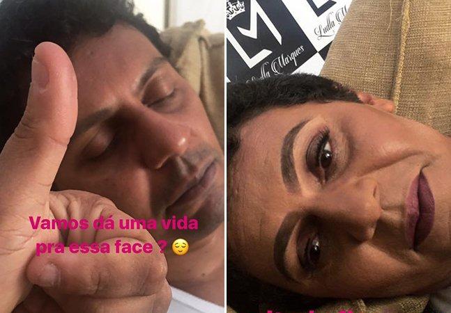 Maquiadora quebra a internet ao publicar fotos hilariantes de make que fez no marido enquanto ele dormia