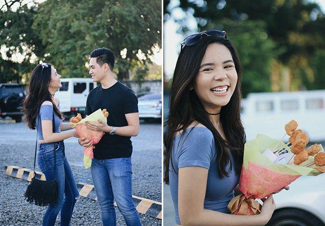 Essa garota disse que não gostava de flores, por isso recebeu um buquê de nuggets