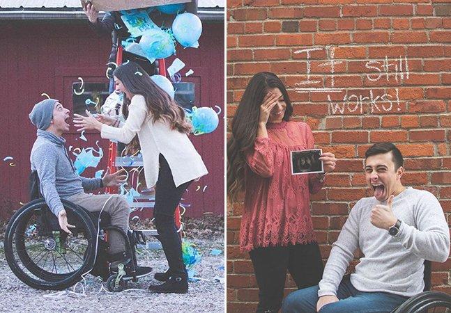Essa mulher e seu noivo cadeirante encontraram uma forma linda de anunciar uma gravidez inesperada