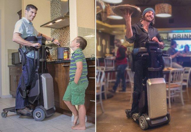 Esta cadeira de rodas permite que pessoas com deficiência se locomovam em pé