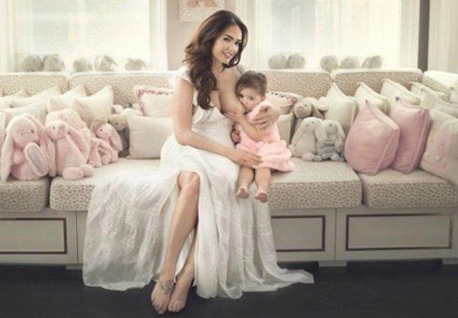 Modelo Tamara Ecclestone publica fotos amamentando a filha de 3 anos para quebrar tabu