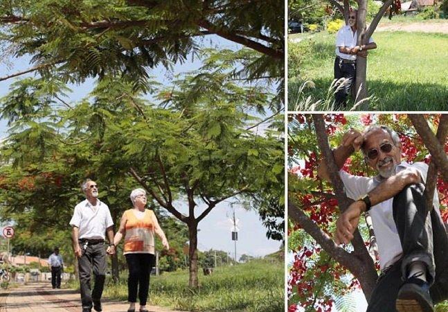 Aos 74 anos ele adotou uma rua da cidade pra tirar o lixo e plantar árvores; sem ganhar nada por isso