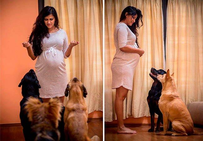 Casal que espera um filho é aconselhado a ter menos cachorros e responde com um álbum que é puro amor