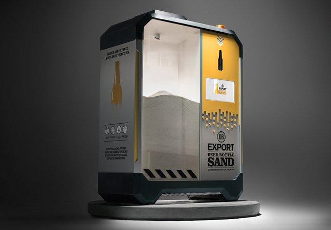 Para proteger areia da praia, cervejaria cria máquina que transforma garrafas em areia para construção civil