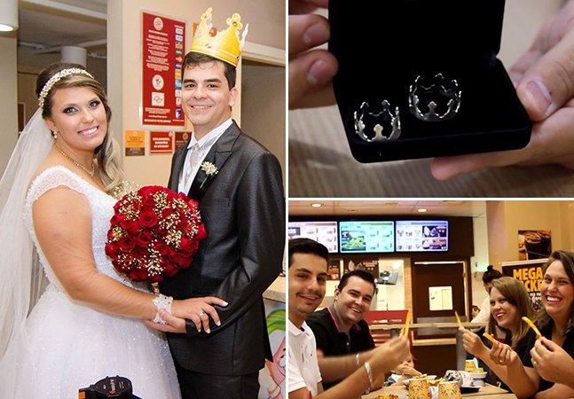 Casal faz ensaio de casamento no Burger King e ganha alianças personalizadas com o símbolo da rede