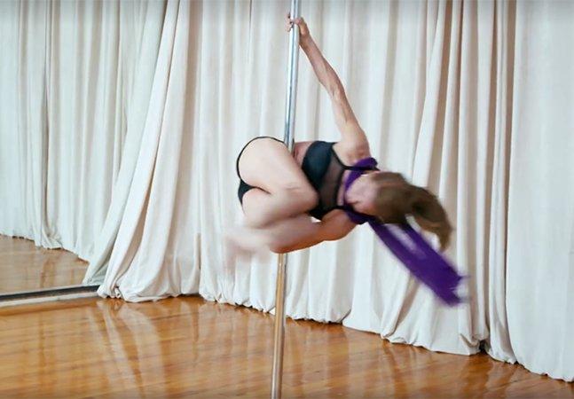 Ela começou a fazer pole dance aos 59 anos e hoje é capaz das acrobacias mais incríveis
