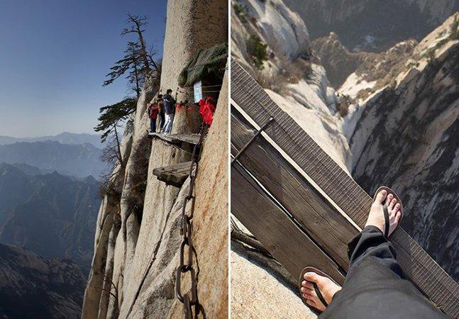 É por imagens assim que essa montanha é conhecida como 'a caminhada mais mortal do mundo'