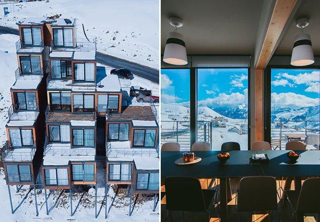 Tente não se apaixonar por esse hotel feito de contêineres 2.200 metros acima do nível do mar