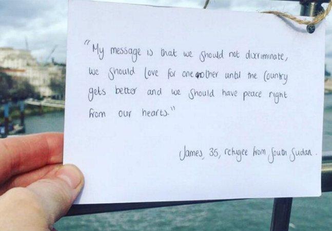 Refugiados sírios espalham mensagens de paz, união e esperança em Londres