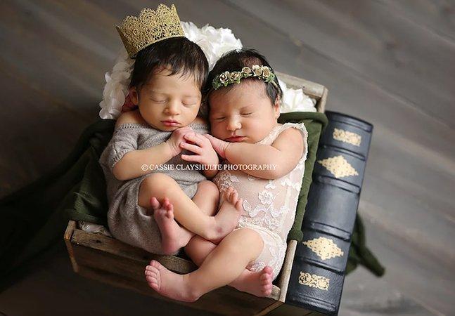 Bebês nascidos com horas de diferença e chamados Romeu e Julieta protagonizam ensaio temático – e muito fofo