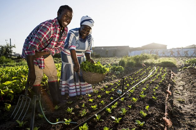 Young African Male and Adult African Woman smiling in garden
