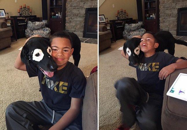 Esse menino com vitiligo combate sua falta de confiança com a amizade por um cachorro com a mesma condição