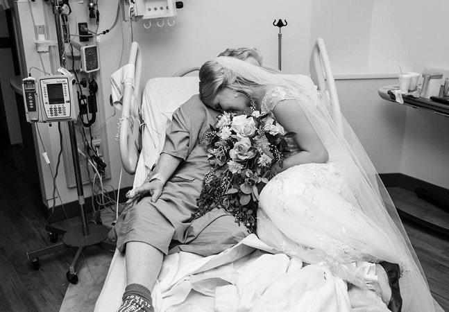 Noiva termina noite de casamento no hospital visitando avó que não pôde ir à cerimônia