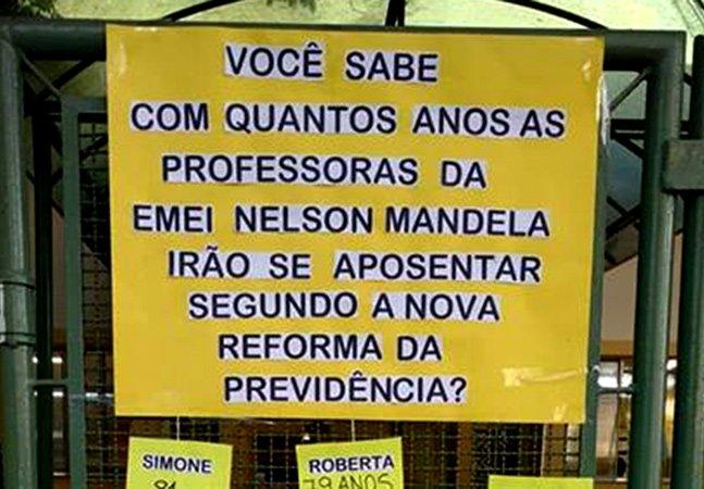 Professoras de escola em São Paulo fazem protesto criativo contra reforma da previdência