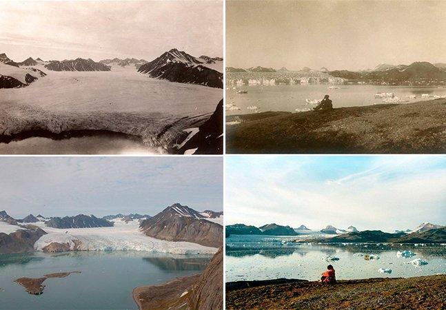Sete imagens impressionantes mostram o impacto de 100 anos de aquecimento global nas geleiras do Ártico