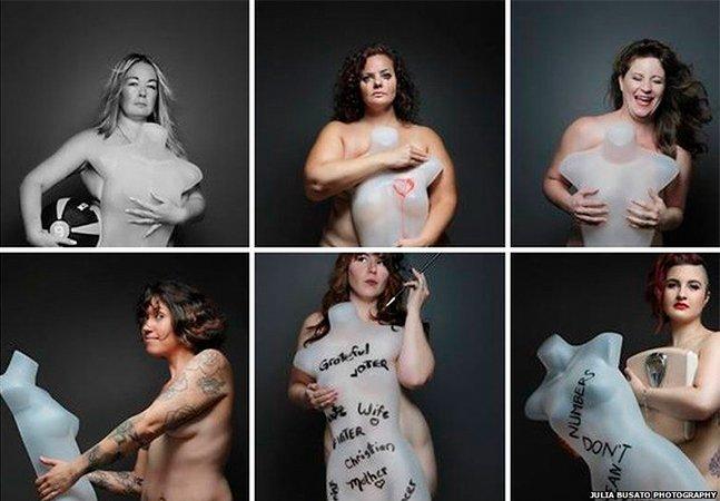 Mulheres posam ao lado de manequins para mostrar a força da beleza real e sem padrões