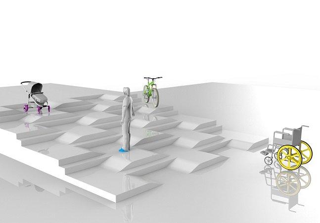 Diferente do que costumamos imaginar, este novo conceito de acessibilidade mescla escadas e rampas