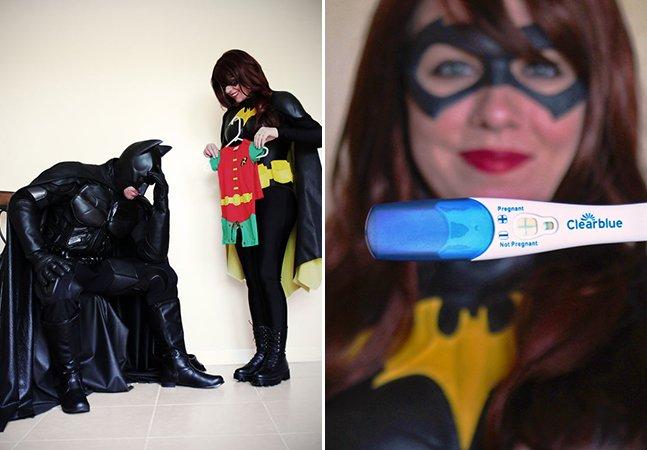 Casal anuncia gravidez fantasiado de Batman e Batgirl em ensaio apaixonante (e geek!) pra qualquer fã de DC Comics