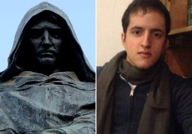 Quem foi o filósofo italiano Giordano Bruno, representado por uma estátua no quarto do estudante do Acre?