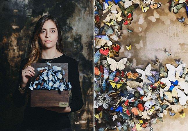 Ela recortou 800 borboletas de papel para homenagear a avó que partiu