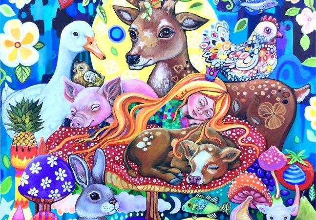 Ela pintou quadros inspirados em contos de fadas para retratar sua jornada rumo ao veganismo