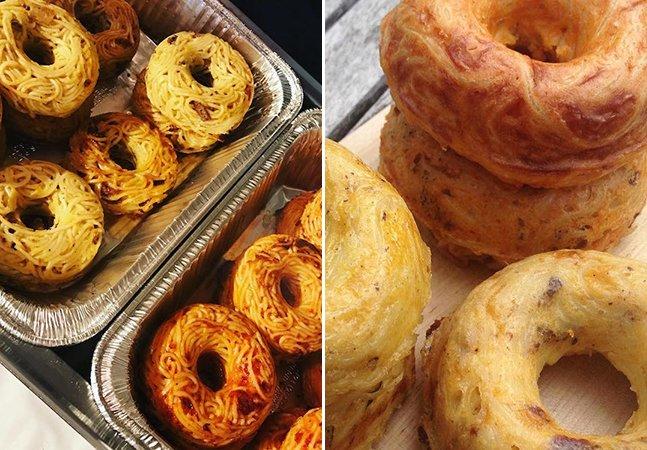 Foi lançado um donut de macarrão com ovo e queijo que é a refeição perfeita para levar pra qualquer lugar