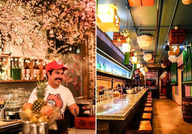 Abriu um bar inspirado em Super Mário e os fãs estão enlouquecidos