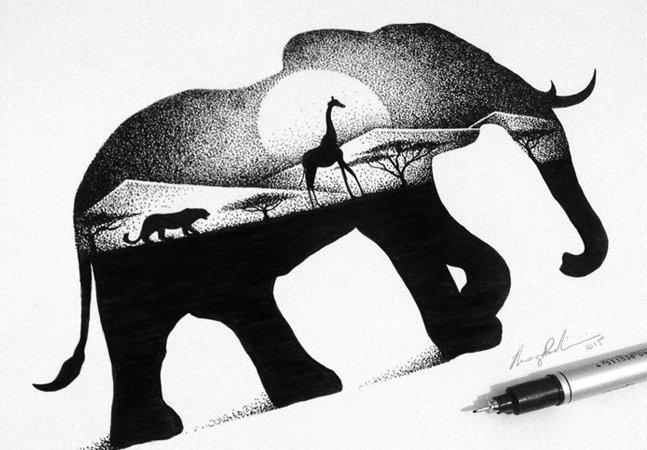 A incrível mistura de animais e paisagens na arte do brasileiro Thiago Bianchini