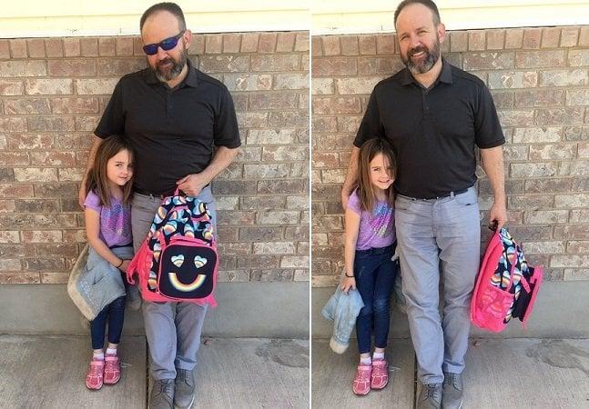 Pai tem ideia simples e hilária para mudar o dia da filha que estava chorando na escola