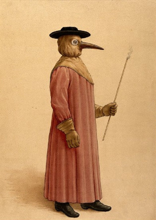 A-physician-wearing-a-seventeenth-century-plague-preventive-costume-17th-century+