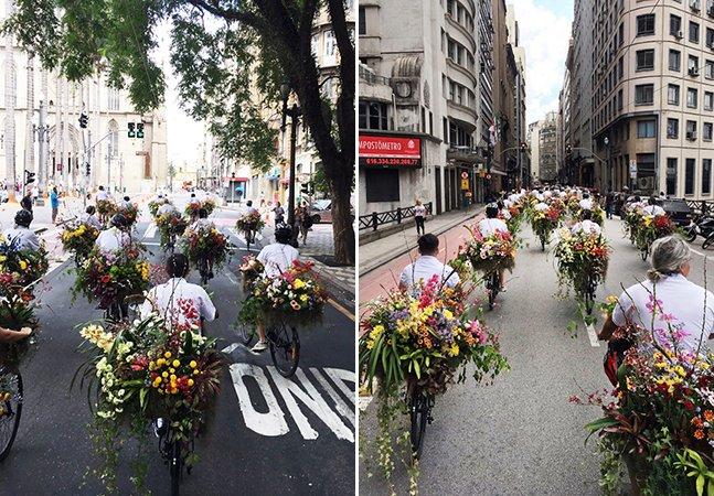 A incrível ação de um artista japonês que espalhou 'jardins' sobre bikes pelas ruas de SP