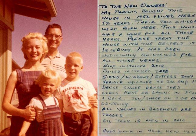 Após dois anos na nova casa, casal descobre bilhete deixado pelos antigos donos