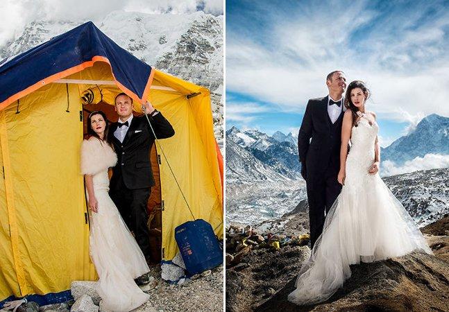 Após 3 semanas escalando e acampando, eles se casaram no Monte Everest e as fotos são puro amor