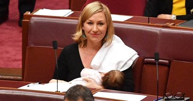 Greens Senator Larissa Waters first politician to breastfeed in the Australian parliament