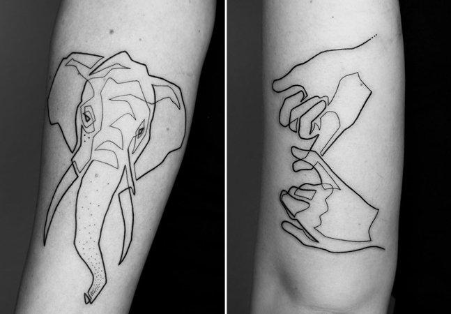 Ele cria tatuagens complexas e originais com apenas uma linha