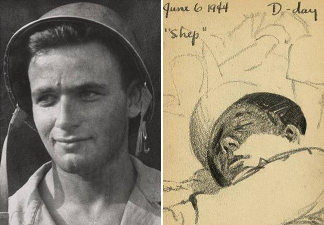 Ex-soldado da 2ª Guerra Mundial mostra os desenhos que fez há 70 anos no campo de batalha