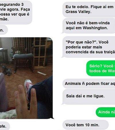 Mulher compartilha mensagens que recebeu do ex-marido para alertar sobre violência doméstica