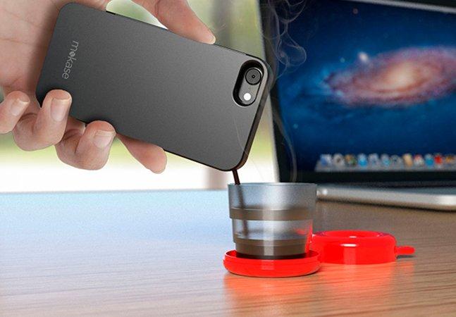 Startup cria case de celular que também é máquina de café