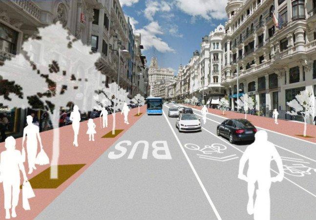 Avenida mais famosa de Madri vai privilegiar bikes e árvores e reduzir espaço para carros