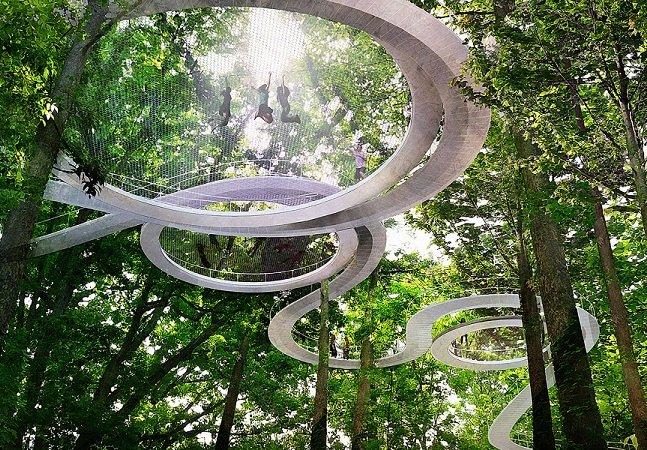 Neste parque, em Istambul, os visitantes podem caminhar pela copa das árvores
