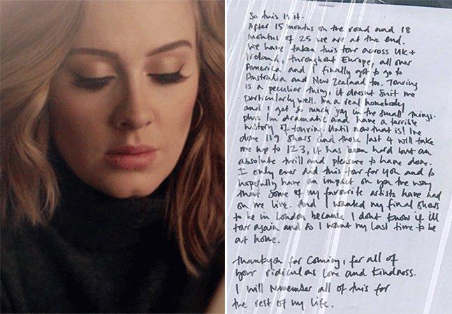 Em carta escrita à mão, Adele diz que esta deve ser a última turnê de sua vida