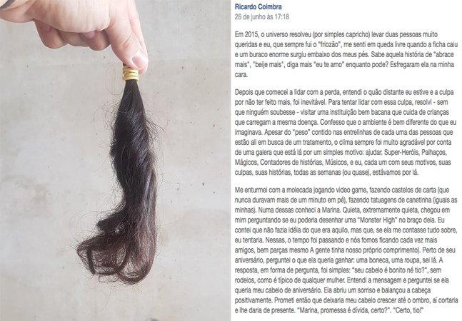 Brasileiro escreve depoimento tocante sobre a história por trás de uma mecha de seu cabelo