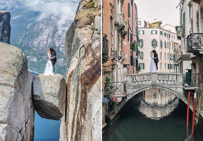 Casal embarca em aventura cheia de amor: fazer sua foto de casamento em 11 países diferentes