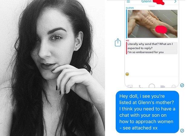 Ela respondeu a uma foto não solicitada de um pênis reenviado-a para a mãe do dito cujo