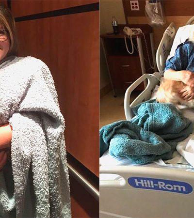 Sua avó estava no hospital, então ela decidiu levar o melhor remédio: a cachorrinha dela