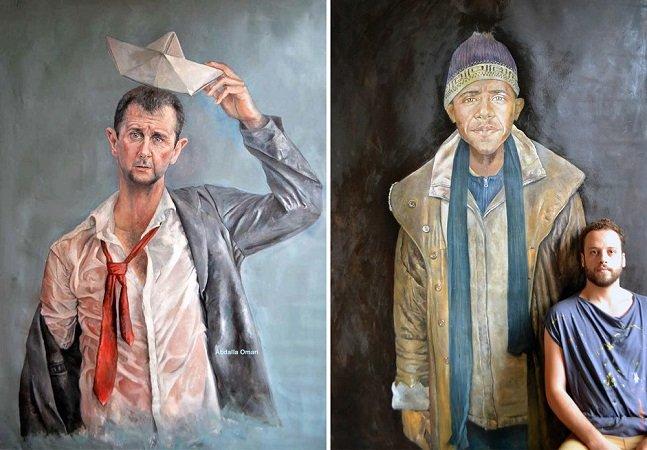 Artista sírio pinta líderes globais como refugiados