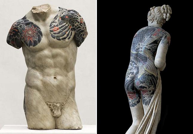 Ele transforma estátuas clássicas em personagens durões por meio de tatuagens incríveis e detalhadas