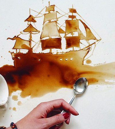 A artista italiana que transforma comida derramada em arte