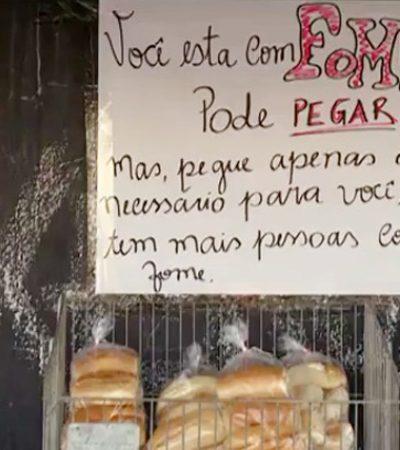 Esse mercadinho em Pernambuco tem uma prateleira especial e gratuita para quem tem fome